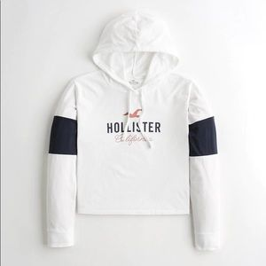 LIKE NEW Hollister Colorblock Hooded Graphic Tee